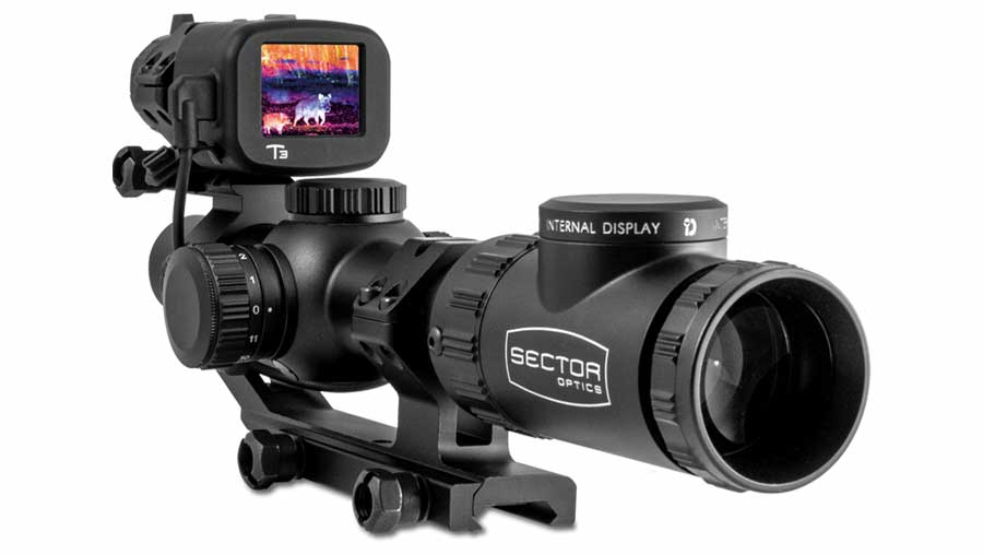 Sector Optics G1T3 System delivers thermal images to the Internal Display technology within the riflescope eyepiece, via a wired connection.